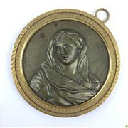 Sale 8562R - Lot 74 - Ormolu Rimmed Bronze Roundel depicting Lady (D: 10cm)