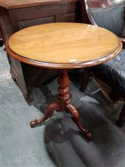Sale 8714 - Lot 1011 - Victorian Mahogany Occasional Table, with round top, turned pedestal & outswept feet