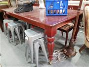 Sale 8795 - Lot 1047 - Reproduction Mahogany Dining Table on Brass Castors