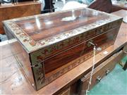 Sale 8814 - Lot 1050 - Large Regency Rosewood & Brass Inlaid Deed Box, with central escutcheon and inset handles, cedar lined & with sliding tray - some fa...