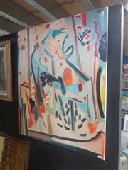 Sale 8833 - Lot 2067 - Artist Unknown (3 Works), Interior Scenes #2-4, acrylic on canvas, 92 x 76cm (2); 76 x 61cm (1), each signed lower