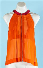 Sale 9090F - Lot 30 - A DION LEE HALTERNECK BLOUSE, in atomic orange with zip to front, size 8