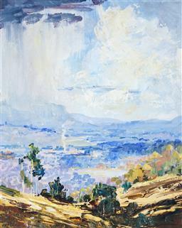 Sale 9099A - Lot 5016 - Peter McQueeney (1941 - ) - Shaft of Light, Blue Mountains (Landscape VI) 49.5 x 39.5 cm (frame: 66 x 56 x 3 cm)