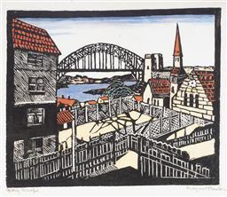 Sale 9081A - Lot 5098 - Margaret Preston (1875 - 1963) - Sydney Bridge 25.5 x 31 cm (frame: 67 x 67 x 3 cm)