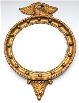 Sale 9138 - Lot 17 - Gilt Framed Porthole Style Mirror with Bald Eagle Finial (Dia:42cm)