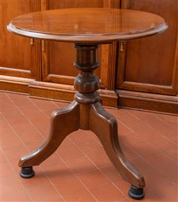 Sale 9256H - Lot 34 - A circular timber occasional table on tripod base, H 57cm x D 53cm.