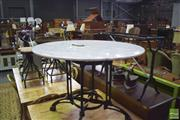 Sale 8390 - Lot 1175 - White Marble Top Table on Metal Base (100cm diameter, slight imperfections)