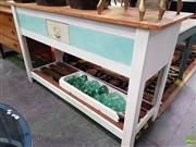 Sale 8589 - Lot 1026 - Rustic Kitchen Island with Single Shelf and Drawer