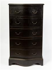 Sale 8651A - Lot 54 - A black lacquered serpentine fronted 5 drawer chest fitted with brass drop handles. The shaped platform base with 4 bracket feet, H ...