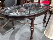 Sale 8676 - Lot 1032 - Oval Coffee Table with Glass Insert Top