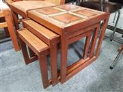 Sale 8822 - Lot 1060 - Set of 1960s Teak Nest of Tables with Tiled Top