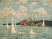 Sale 8773 - Lot 600 - J H Heffer (Petty Officer Royal Navy) - H.M.S. Euryalus. Bombarding Smyrna. Mar. 6th 1915 67 x 88.5cm