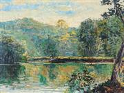 Sale 8881 - Lot 575 - John Santry (1910 - 1990) - Sunlit Pool, Narara Valley Gosford 45 x 60 cm
