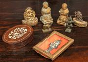 Sale 8976H - Lot 17 - A group of mostly Indian cast bronze figures, a bone inlaid paperweight and plaster figures, Longest 9cm