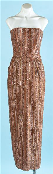 Sale 9090F - Lot 33 - A CHRISTOPHER ESSEX SLEEVELESS EVENING GOWN, embellished all over in beads with side pockets, size S