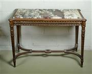 Sale 9087H - Lot 64 - Antique French carved timber marble top centre table 74 T x 104 W x 65 D