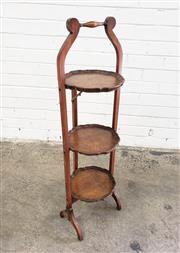Sale 9085 - Lot 1018 - Folding Walnut Cake Stand, with three burr veneered tiers (h:76cm)