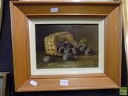 Sale 8407T - Lot 2058 - Framed Oil Painting on Board of a Basket of Plums, Signed Lizzie Lees 1912