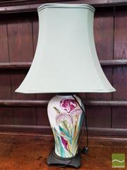 Sale 8485 - Lot 1077 - A Porcelain Baluster Lamp, with floral decoration on Oriental timber base with green silk shade.