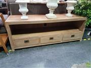 Sale 8601 - Lot 1458 - Large Timber Three Drawer Entertainment Unit (H: 60 W: 160 D: 50cm)
