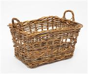 Sale 8660A - Lot 90 - A vintage c. 1930 French hand woven cane breadmans basket fitted with twin carrying handles H 40cm x W 58cm x D 42cm