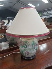 Sale 8676 - Lot 1338 - Ceramic Table Lamp  with Floral Patterns