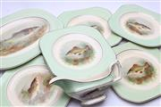 Sale 8725 - Lot 15 - Woods Ivory Ware Collection of Fish Plates (5) Together With A Serving Tray And Gravy Boat