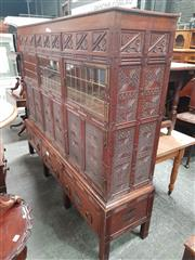Sale 8714 - Lot 1028 - Victorian Aesthetic Style Carved Oak Cabinet, with three leadlight & chip carved panel doors, with three drawers below on sitting on...