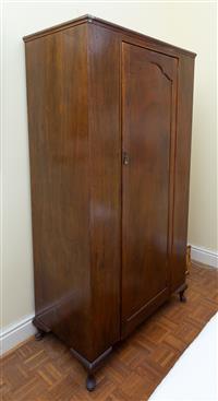 Sale 8735 - Lot 59 - A single drawer maple wardrobe on cabriole legs, H x 188cm, W x 101cm, D  x 53cm