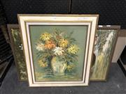 Sale 8853 - Lot 2040 - Two Still Life 70s paintings by various artists, framed and various sizes -