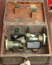 Sale 8984W - Lot 542 - A small metal bound carry case containing 2 surveyors targets. Width of box 31cm