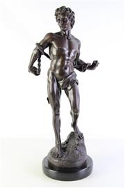 Sale 8989 - Lot 3 - After Antoine-Louis Barye, Reproduction Bronze Statue, Study of David on Marble Base (H 66cm)