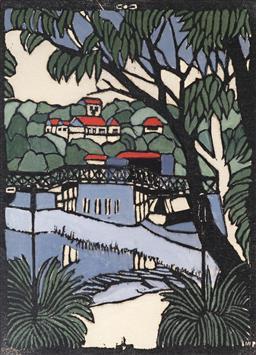Sale 9154JM - Lot 5090 - MARGARET PRESTON (1875 - 1963) Mosman Bridge decorative print after original 41.5 x 31 cm (frame: 67 x 57 x 3 cm) gallery frame