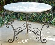 Sale 9081H - Lot 3 - A round terrazzo garden table on black iron frame, height 91cm x Diameter 114cm