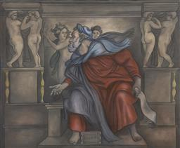 Sale 9174JM - Lot 5052 - ARTIST UNKNOWN Ezechiel (After Michelangelo) acrylic on canvas 122 x 153 cm signed lower right