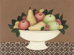 Sale 9195 - Lot 503 - FRANCES JONES (1923 - 1999) Still Life with Apples & Pears oil on board 29 x 39 cm (frame: 37 x 47 x 2 cm) signed lower right