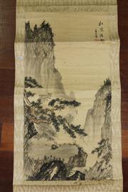 Sale 8445 - Lot 89 - Chinese Landscape Scroll with Porcelain Handles (AF)