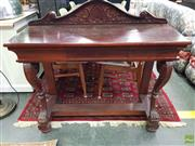 Sale 8593 - Lot 1062 - Victorian Style Carved Mahogany Console w Drawer & Paw Feet
