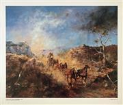 Sale 8655A - Lot 5046 - Hugh Sawrey (1919 - 1999) - Cobb & Co. Down the Cunninghams Gap 63 x 74.5cm
