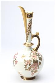 Sale 8677 - Lot 1 - Royal Worcester Japanese Style Ewer Decorated With Blossoms H:46cm (Repair To Base)