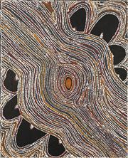 Sale 8743 - Lot 525 - Lloyd Kwilla (1980 - ) - Kulyayi Waterhole in the Great Sandy Desert, Bushfire Series, 2006 100 x 80cm (framed and ready to hang)