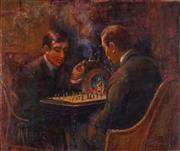 Sale 8813 - Lot 564 - Edith E Cusack (c1865 - 1937) - Chess Game 55 x 65.5cm