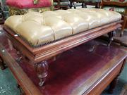 Sale 8814 - Lot 1100 - Regency Style Long Footstool, with tan buttoned leather top, on turned reeded legs with castors