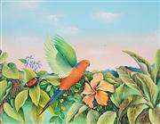 Sale 8881 - Lot 587 - Evelyn Steinmann (1959 - ) - Parrot, Butterfly and Hibiscus 33 x 43 cm