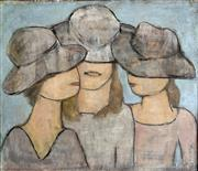 Sale 8894A - Lot 5001 - Valerie Albiston (1911 - 2008) - Three Girls 45 x 52 cm