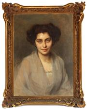 Sale 8976H - Lot 47 - Ferranis (Italian?) Portrait of a young Lady,Oil on Canvas, SLR Dated 1908? In a Carved Gilt gesso Frame (Minor Faults to Frame) 6...