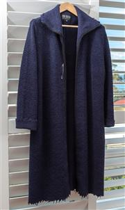 Sale 9023H - Lot 98 - A Von Troska long cardigan in a navy wool knit with ripped design to sleeve, Size L