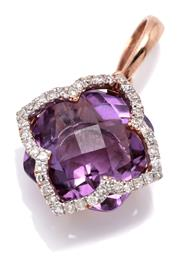 Sale 9095 - Lot 343 - AN AMETHYST AND DIAMOND PENDANT; featuring a quatrefoil chequerboard cut amethyst surrounded by single cut diamonds set in 10ct rose...