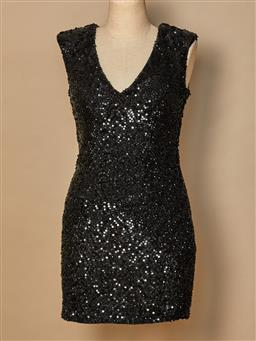 Sale 9093F - Lot 73 - A Rachel Gilbert sequinned black mini evening dress, size 1