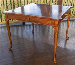 Sale 9256H - Lot 42 - A large Chinese rosewood four drawer card table on slender cabriole legs and shaped corners, H 76cm x W 104cm x D 104cm.
